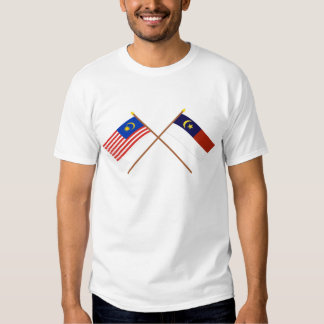 Crossed Malaysia and Malacca (Melaka) flags Tshirt
