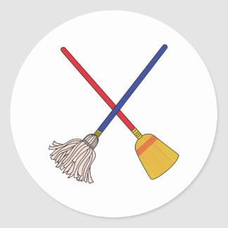 Crossed Mop & Broom Classic Round Sticker