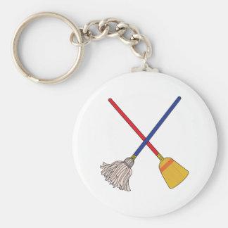 Crossed Mop & Broom Key Ring