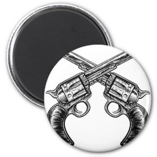 Crossed Pistol Gun Revolvers Vintage Woodcut Style Magnet