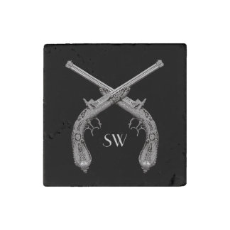 Crossed Pistol Monogram Stone Magnet