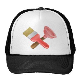 Crossed plunger and paintbrush tools mesh hats