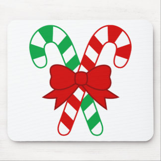 Crossed Red and Green Candy Canes Tied with Bow Mousepads