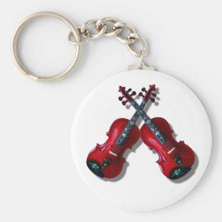 CROSSED RED VIOLINS -KEYCHAIN KEY RING