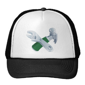 Crossed spanner and hammer tools trucker hats
