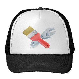 Crossed spanner and paintbrush tools trucker hats