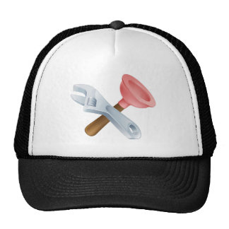 Crossed spanner and plunger tools hat