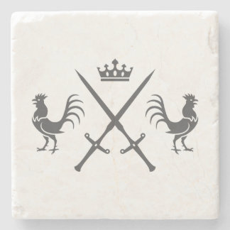 Crossed Swords and Roosters Stone Beverage Coaster