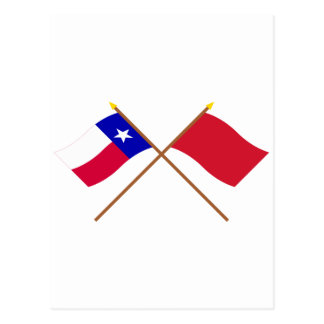 Crossed Texas and Alabama Red Rovers Flags Postcard
