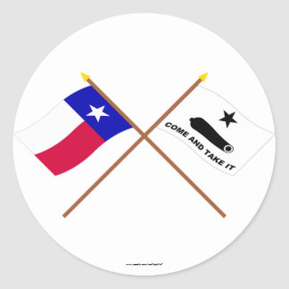 Crossed Texas and  Gonzales Flags Classic Round Sticker
