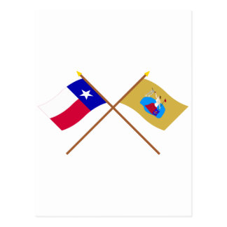 Crossed Texas and San Jacinto Flags Post Cards