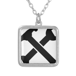 Crossed Tools Silver Plated Necklace