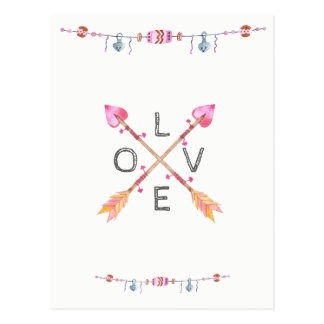 Crossed Tribal Heart Arrow Love Postcard