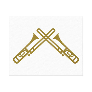 Crossed Trombone Stretched Canvas Print
