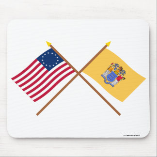 Crossed US 13-star and New Jersey State Flags Mousepads
