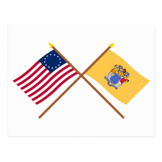 Crossed US 13-star and New Jersey State Flags Postcard