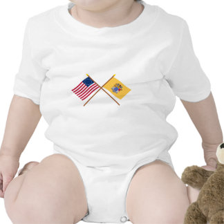 Crossed US 13-star and New Jersey State Flags Romper