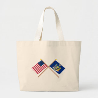 Crossed US 13-star and New York State Flags Tote Bags