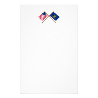 Crossed US 13-star and Pennsylvania State Flags Stationery Design