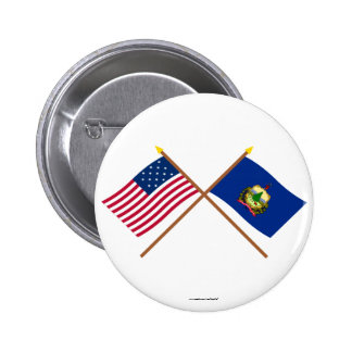 Crossed US 15-star and Vermont State Flags Pinback Buttons