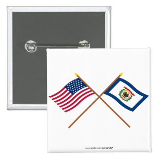 Crossed US 35-star and West Virginia State Flags Pin