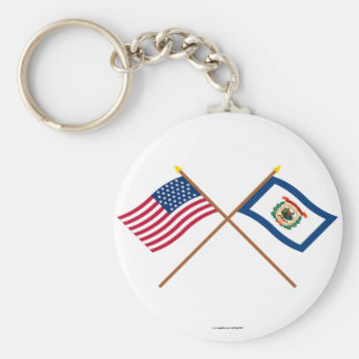 Crossed US 35-star and West Virginia State Flags Basic Round Button Key Ring