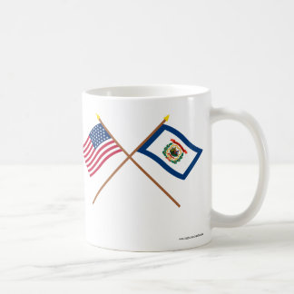 Crossed US 35-star and West Virginia State Flags Coffee Mugs