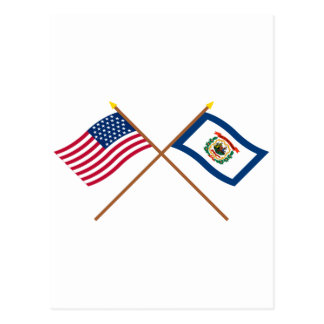 Crossed US 35-star and West Virginia State Flags Postcard