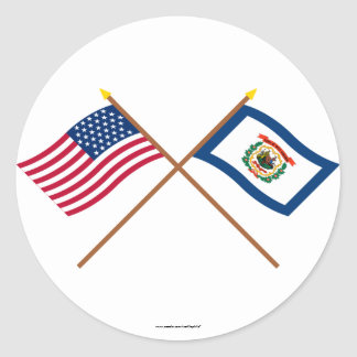 Crossed US 35-star and West Virginia State Flags Round Sticker