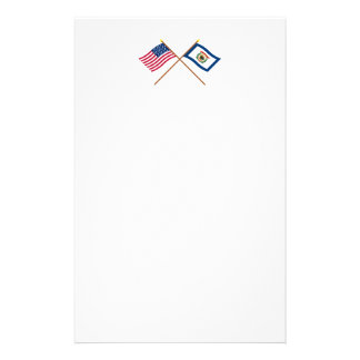 Crossed US 35-star and West Virginia State Flags Stationery Design