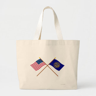 Crossed US 37-star and Nebraska State Flags Bag