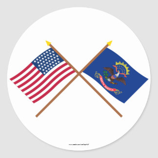 Crossed US 43-star and North Dakota State Flags Round Sticker