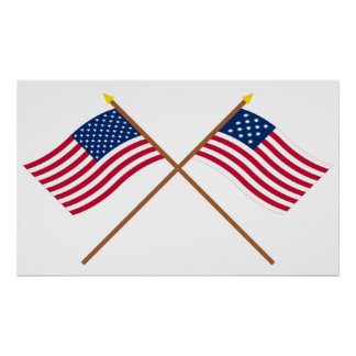 Crossed US and Frigate Alliance Flags Poster