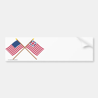 Crossed US and Grand Union Flags Bumper Sticker