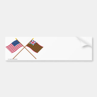 Crossed US and Grand Union Naval Flags Bumper Sticker