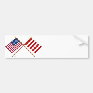 Crossed US and Liberty Tree Flags Bumper Sticker