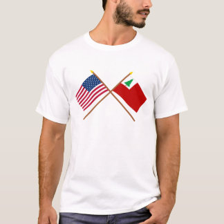 Crossed US and New England Flags T-Shirt