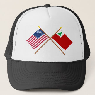 Crossed US and New England Flags Trucker Hat
