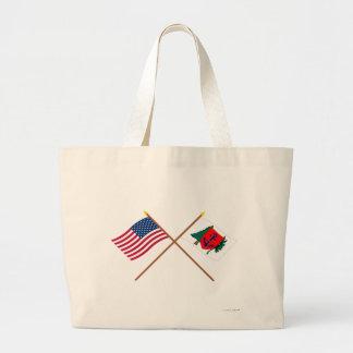 Crossed US and Newburyport Indep Marine Co Flags Jumbo Tote Bag
