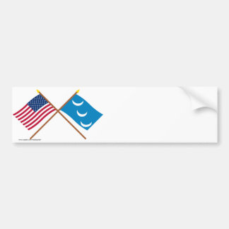 Crossed US and South Carolina Militia Flags Bumper Sticker