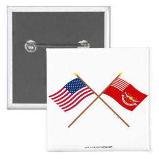 Crossed US and Tallmadge s Dragoons Flags Pin