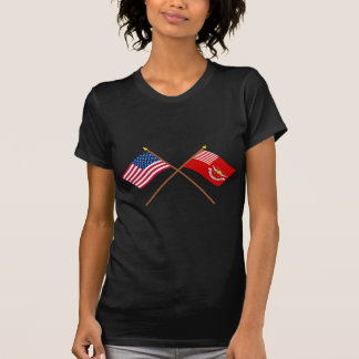 Crossed US and Tallmadge's Dragoons Flags Tee Shirt