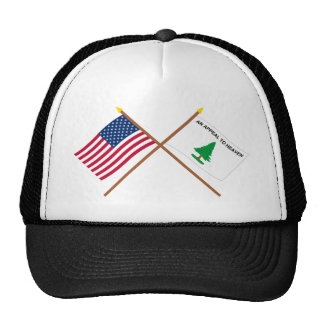 Crossed US and Washington s Cruisers Flags Hat