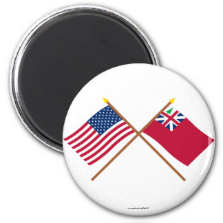 Crossed US Flag and  Pine Tree Red Ensign 6 Cm Round Magnet