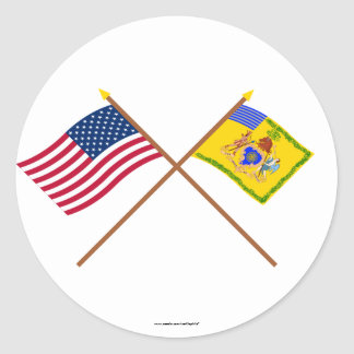 Crossed US Flag & Philadelphia Light Horse Colour Stickers