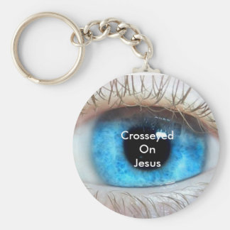 Crosseyed On Jesus (blue) Basic Round Button Key Ring