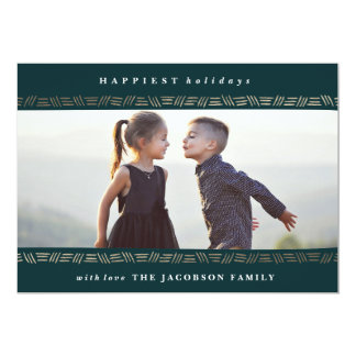 Crosshatch Frame Gold Christmas Holiday Card Navy