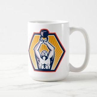 Crossift Athlete Lifting Kettlebell Front Retro Coffee Mug
