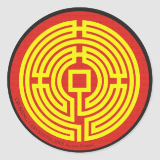 crossing labyrinth chinese round sticker