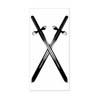 Crossing Swords Vertical Rubber Stamp